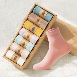 7双袜子女中筒春秋冬季袜防臭纯色