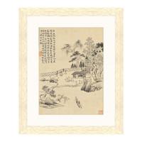 水墨画《赴饮图》华嵒 背景墙装饰画挂画 原木色 44×36cm