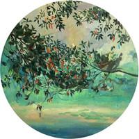 墨斗鱼艺术魏盼盼限量圆形版画 99版 西湖风景绿色《西湖绿树》