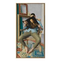 现代简约王健签名版画——《入迷系列--看丢勒》典雅栗 25×50cm