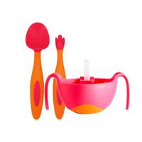 b.box 兒童餐具套裝 叉勺+碗 紅橙