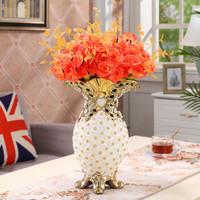 Hoatai Ceramic 华达泰陶瓷  镶钻花瓶中号+橙色玫瑰