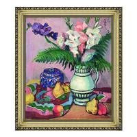 花卉静物油画《菖莆与水果》沙发背景墙装饰画挂画 宫廷金 70x61cm