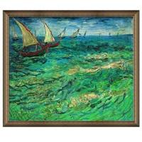 梵高油画《帆船海景》背景墙装饰画挂画 爵士黑 67*58cm