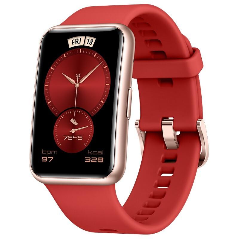 HUAWEI 华为 WATCH FIT 智能手表 46mm 新年红 硅胶表带