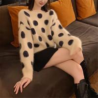 Tonlion 唐狮 62542FC0043252102 女士貂绒波点圆领套头毛衣