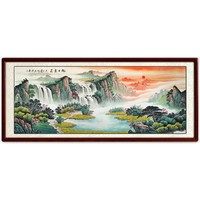 手绘真迹 国画山水画客厅风景沙发背景办公室挂画 装裱218*88