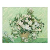梵高《粉红色的玫瑰》艺术版画 背景墙挂画 金色框 尺寸40*30