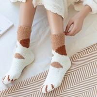 南极人 珊瑚绒猫爪袜 5双