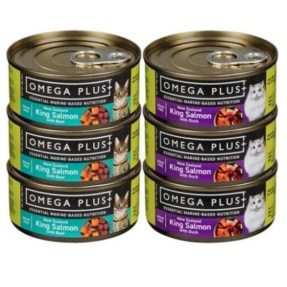 Omega Plus 奥鲑冠 帝王鲑牛肉鸭肉猫主食罐 85g*6罐