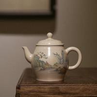 素以 米白釉釉上彩茶壶