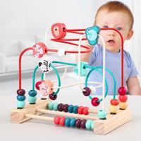 婴幼儿童玩具早教益智木制多功能绕珠串珠数量颜色认知小动物1-2-3岁宝宝女孩玩具男孩 森林乐园动物三线大绕珠