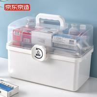 京东京造 家庭医药箱三层 特大 透明可视透明 家用药箱 药品收纳盒