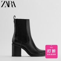 ZARA 女鞋 黑色弹力粗高跟烟筒靴切尔西短靴 12160610040
