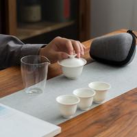祥福 白瓷茶具套装 一盖碗三杯