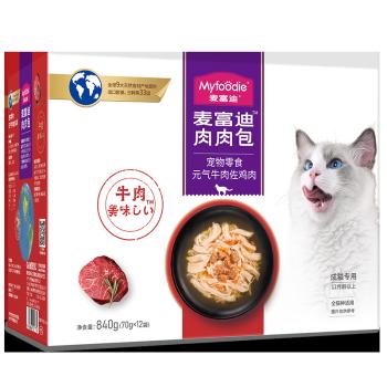 京东PLUS会员:Myfoodie麦富迪 猫湿粮 成猫鸡丝牛肉70g*12袋 *6件
