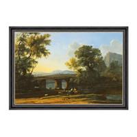 风景油画《黎明》劳伦 装饰画 爵士黑 100×70cm
