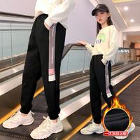女童加绒加厚裤子秋冬外穿洋气2020年新款宝宝运动裤冬季儿童棉裤