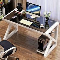 LISM 钢化玻璃电脑桌 80*50cm(白色架子黑玻璃)
