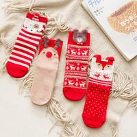 蜜柚妈咪  圣诞袜麋鹿袜 4双装