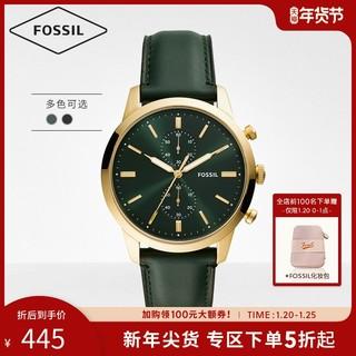 FOSSIL Fossil化石小绿表皮表带官方正品大表盘石英男学生潮流手表FS5585