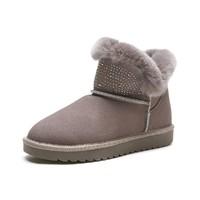 商场同款女士保暖兔毛鞋口时尚简约雪地靴