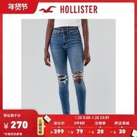 Hollister2020秋季新品气质较高腰加倍紧身牛仔裤 女 306373-1 *3件