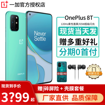 一加8T 手机 OnePlus 5G 电竞游戏手机 65W闪充4500毫安大容量电超薄机身8T标配 青域 8 128G全网通