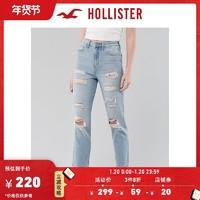 Hollister秋季复古弹力高腰气质妈咪牛仔裤 女 304773-1