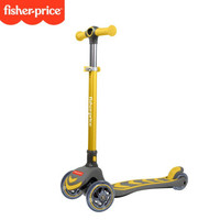 费雪宝宝滑板车儿童3-6-8岁以上四轮折叠滑板车溜溜车单脚滑滑车 黄色