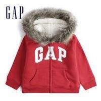 Gap 盖璞 女幼童 LOGO仿羊羔绒运动开衫
