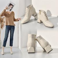 哈森集团旗下靴子女百搭马丁靴女气质粗跟女靴