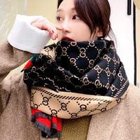 新款冬季仿羊绒加厚保暖长款时尚围脖披肩女款围巾