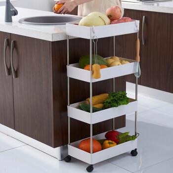 华耐家居(huanai) 大容量塑料收纳架落地厨房置物架 四层宽款带轮