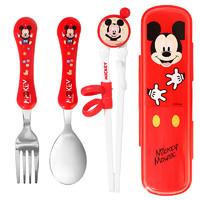 Disney 迪士尼 兒童學習叉勺筷四件套 米奇紅