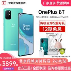 一加8T 双模5G游戏手机 120Hz柔性直屏 OnePlus1 8T手机 青域 12GB 256GB(标准版)