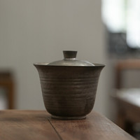 SUYI 素以 日式原矿铁釉手工盖碗200ML