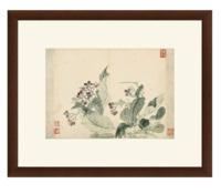 雅昌 恽寿平《丁香花图》59×48cm 装饰画 宣纸