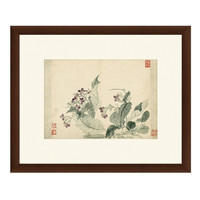 古典中式国画水墨画《丁香花图》恽寿平 茶褐色 59×48cm