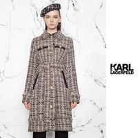 KARL LAGERFELD 卡尔·拉格斐 KLW20B0500310072 女士经典karl粗花呢大衣