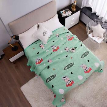 梦嘉欢 水晶绒印花床盖 榻榻米加厚 小奶牛-薄荷绿 200*230cm(单件床盖)