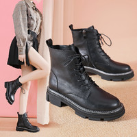 红蜻蜓冬季女靴时尚厚底马丁靴女舒适百搭短靴子