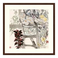 花卉国画水墨画《晨妆》袁野 沙发背景墙装饰画 茶褐色 88*88cm