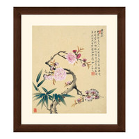 花卉国画《竹子桃花图》邹一桂 装饰画挂画壁画 茶褐色 42×47cm
