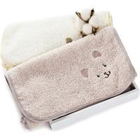 三利 有机棉儿童毛巾2条装 A类安全标准婴幼儿用品 纯棉面巾 宝宝洗脸巾 26×52cm 绣花小熊 *8件