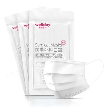 WELLDAY 维德 一次性医用外科口罩 100只装 白色