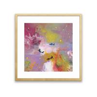 王唐糖《梦境》艺术版画 抽象梦幻装饰画 尺寸50*50cm-原木框