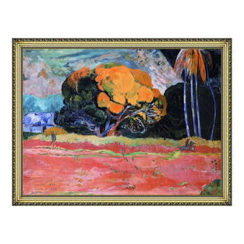 风景油画《山脚》高更 背景墙装饰画 挂画 宫廷金 101×77cm
