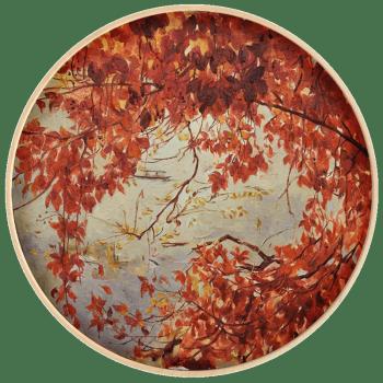 艺术品 : 魏盼盼限量版画 艺术品 花卉红叶 背景墙壁画 轻奢挂画