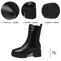 20新款秋冬马丁靴系带粗跟高跟鞋保暖女靴